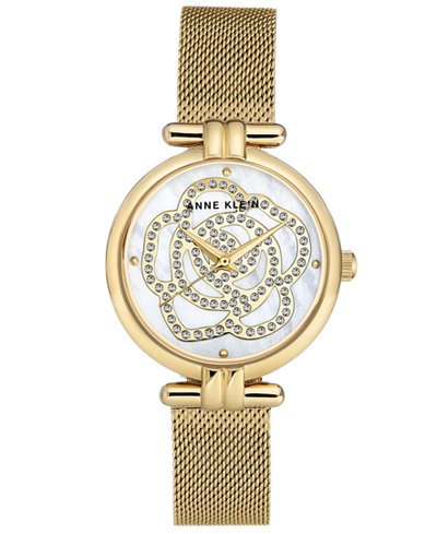 Anne Klein Women's Gold-Tone Stainless Steel Mesh Bracelet Watch 33mm