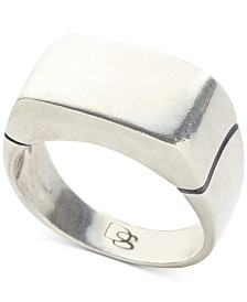 DEGS & SAL Men's Flat Top Ring in Sterling Silver