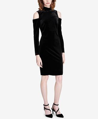 Calvin Klein Velvet Cold-Shoulder Dress