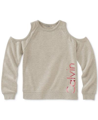 Calvin Klein Cold-Shoulder Logo Sweatshirt, Big Girls