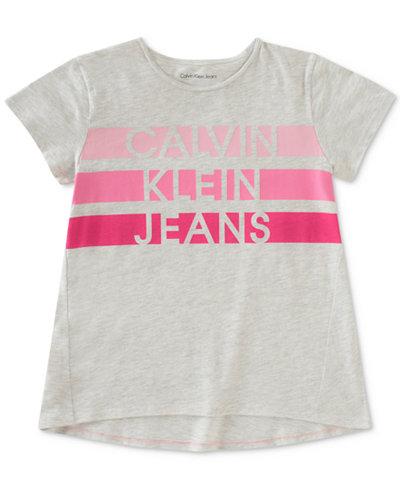 Calvin Klein Jeans Striped Logo Cotton T-Shirt, Big Girls