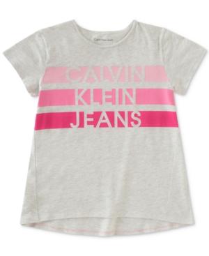 Calvin Klein Jeans Striped Logo Cotton TShirt Big Girls (716)