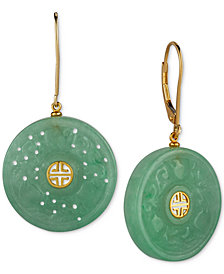 Dyed Jade Carved Ornamental Disc Drop Earrings in 14k Gold-Plated Sterling Silver