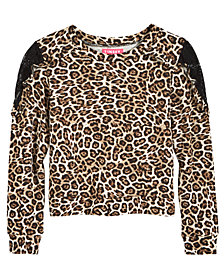 Tinsey Lace-Trim Animal-Print T-Shirt, Big Girls