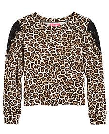 Tinsey Lace-Trim Animal-Print T-Shirt, Big Girls