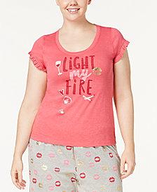 HUE® Light My Fire Plus Size Ruffled-Sleeve Pajama Top