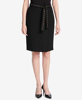 Calvin Klein Grommet-Belt Pencil Skirt