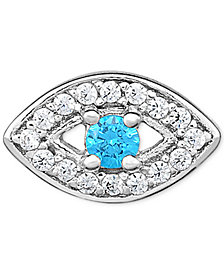 Diamond Evil Eye Single Stud Earring (1/10 ct. t.w.) in 14k White Gold
