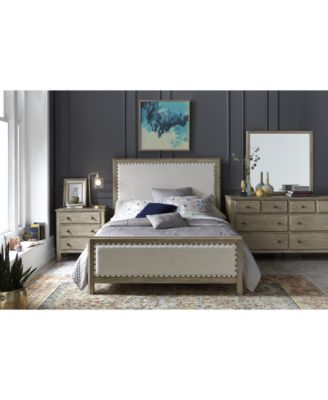 Traditional Lines, A Distressed Natural Finish And Textural Nailhead Lined  Upholstery Across The Head And Footboard Of The Parker Bedroom Furniture ...