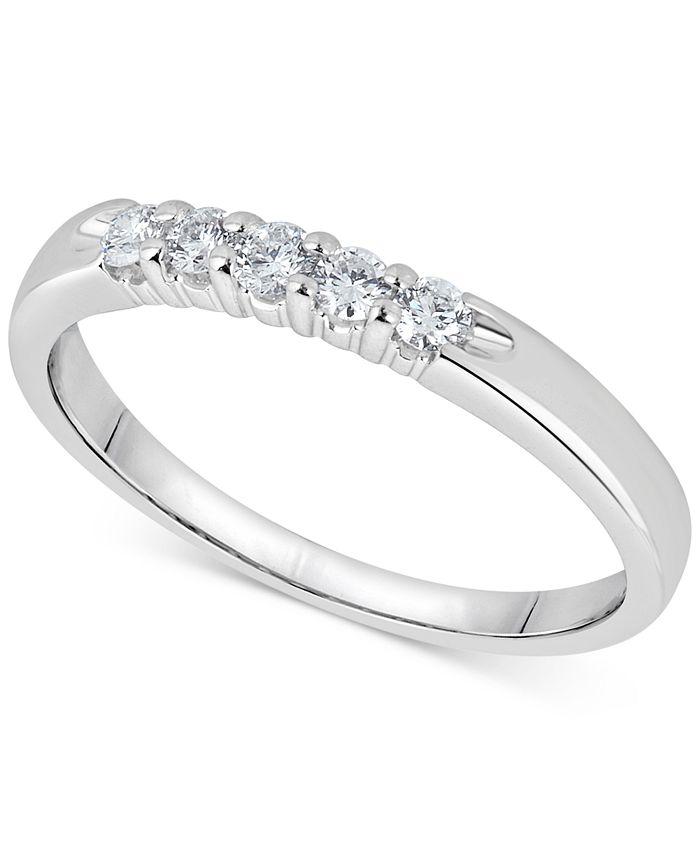Macy's - Diamond Five-Stone Ring (1/4 ct. t.w.) in 14k White Gold
