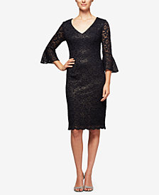 Alex Evenings Petite Bell-Sleeve Metallic Lace Dress