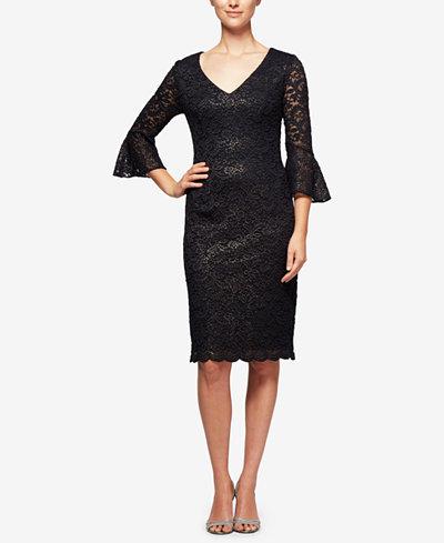 Alex Evenings Petite Bell-Sleeve Metallic Lace Dress