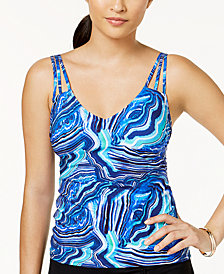 Profile by Gottex Marble-Print Tankini Top