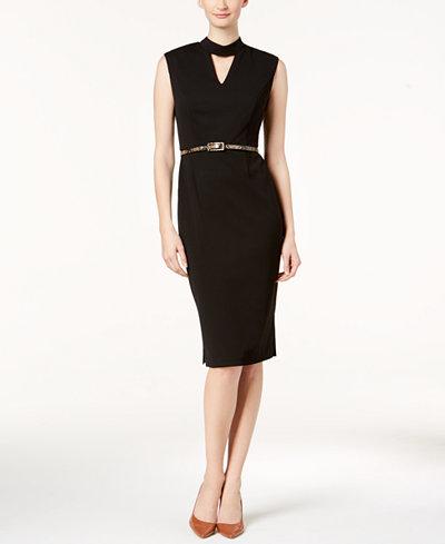 Connected Belted Choker Dress, Regular & Petite Sizes