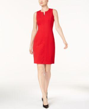 SPLIT-NECK SHEATH DRESS