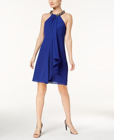 Calvin Klein Draped Embellished A-Line Dress