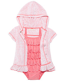 First Impressions 1-Pc. Ruffled Swim Suit & Hooded Cover Up, Baby Girls, Created for Macy's