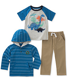 Kids Headquarters 3-Pc. Striped Hoodie, Dino-Print T-Shirt & Pants Set, Baby Boys