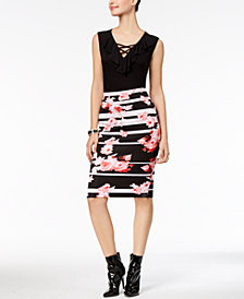 Thalia Sodi Ruffled Crisscross-Neck Top & Printed Scuba Pencil Skirt, Created for Macy's