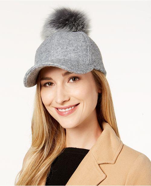 40d176e3bc9 UGG® Fur Pom Pom Baseball Hat - Handbags   Accessories - Macy s