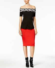 2d547f2ca4d Thalia Sodi Lace Appliqué Off-The-Shoulder Peplum Top   Scuba Pencil Skirt