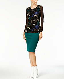 Thalia Sodi Embroidered Mesh Knit Top & Scuba Pencil Skirt, Created for Macy's