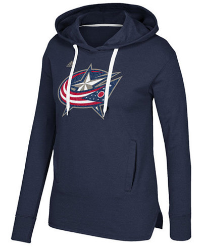 adidas Women's Columbus Blue Jackets Logo Shine Hooded Sweatshirt