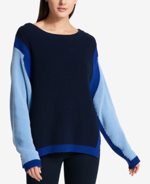 Dkny  COTTON COLORBLOCKED SWEATER