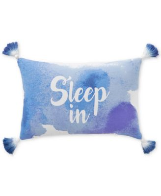 """CLOSEOUT! Sleep In 12"""" x 28"""" Graphic-Print Decorative Pillow, Created for Macy's"""