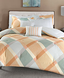 Madison Park Drew 7-Pc. Cotton Flannel Reversible King/California King Duvet Cover Set