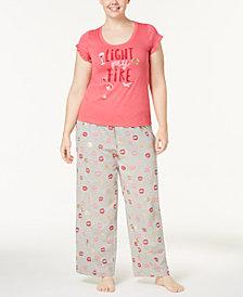 HUE® Plus Size Graphic Pajama Top & Printed Pajama Pants