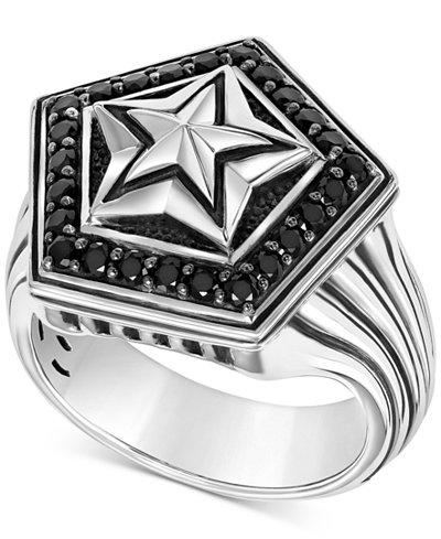 Scott Kay Men's Black Sapphire Star Ring (1-1/4 ct. t.w.) in Sterling Silver