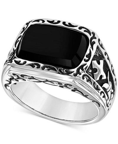 scott kay men 39 s onyx ring in sterling silver rings. Black Bedroom Furniture Sets. Home Design Ideas