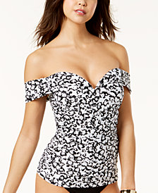 Island Escape Cape May Floral-Print Off-The-Shoulder Push-Up Tankini Top, Created for Macy's