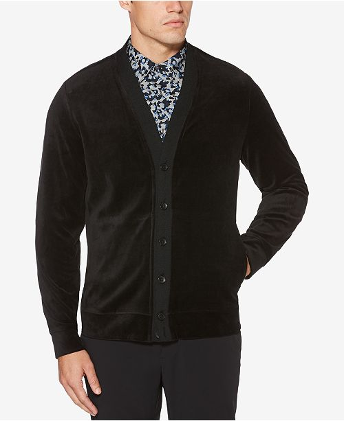 Perry Ellis Men s Velour Cardigan   Reviews - Sweaters - Men - Macy s 0a239ad1f