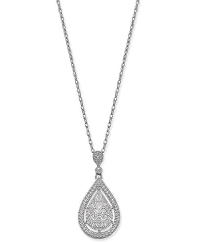 Diamond Accent Teardrop Pendant Necklace in Sterling Silver