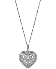 Diamond Filigree Heart Pendant Necklace (1/8 ct. t.w.) in Sterling Silver