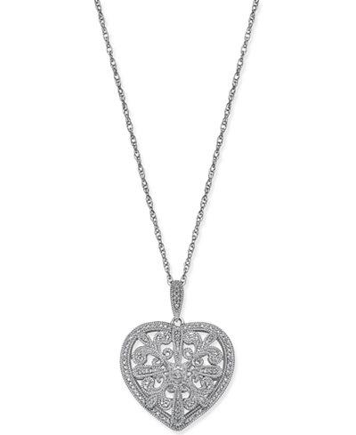 Diamond Filigree Heart Pendant Necklace (1/8 ct. t.w.) in Sterling Silver
