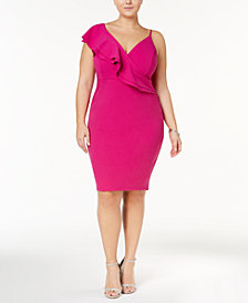 Soprano Trendy Plus Size Top Asymmetrical Bodycon Dress