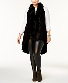 Say What? Trendy Plus Size Faux-Fur Sweater Vest