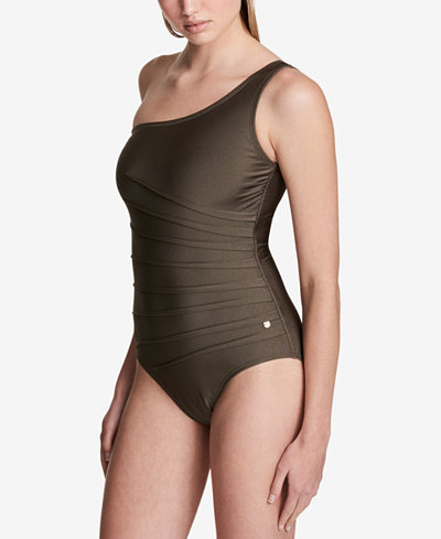 Calvin Klein One-Shoulder Starburst One-Piece Swimsuit,Created for Macy's Style