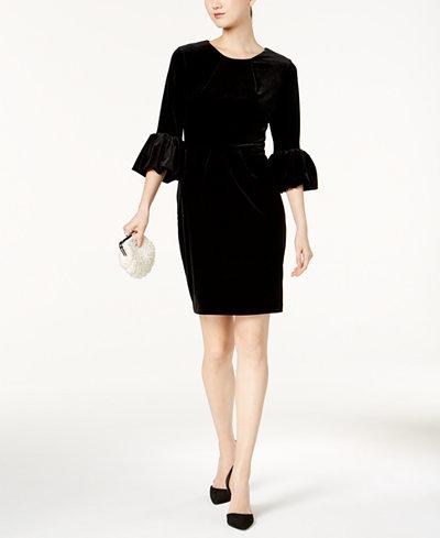 Betsy & Adam Melania Velvet Bell-Sleeve Dress