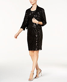 Kasper Sequined Mesh Jacket & Sheath Dress