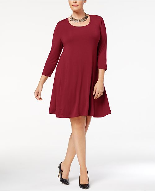 Style & Co Plus Size Scoop Neck Swing Dress, Created for Macy\'s ...