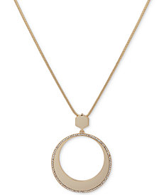 Ivanka Trump Gold-Tone Long Pavé Circle Pendant Necklace