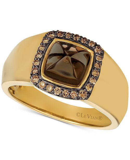 Le Vian Gents™ Men's Chocolate Quartz® & Diamond (1/4 ct. t.w.) Ring in 14k Gold