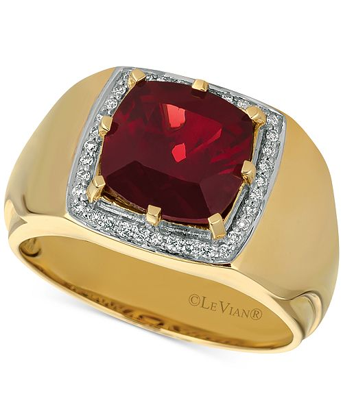 Le Vian Gents™ Men's Pomegranate Garnet™ (4-3/8 ct. t.w.) & Diamond (1/6 ct. t.w.) Ring in 14k Gold