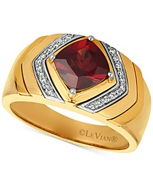 Gents™ Men's Pomegranate Garnet™ (2-1/2 ct. t.w.) & Diamond (1/8 ct. t.w.) Ring in 14k Gold
