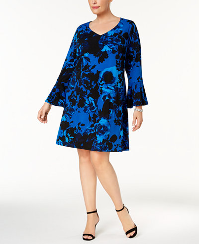 Connected Plus Size Bell-Sleeve Dress