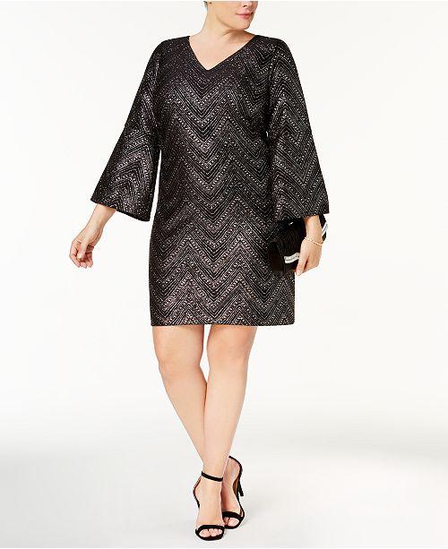 Jessica Howard Plus Size Glitter Chevron-Stripe Dress ...